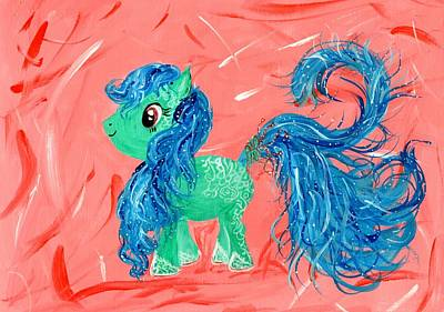 My Little Pony Painting - Green Pony by Mrs Wilkes Art