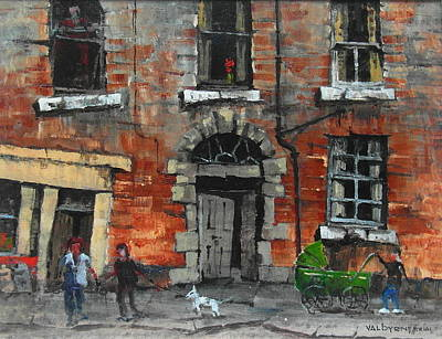 Painting - Green Pram In The Coombe Dublin by Val Byrne