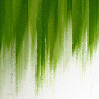 Digital Art - Green Rain by Andee Design