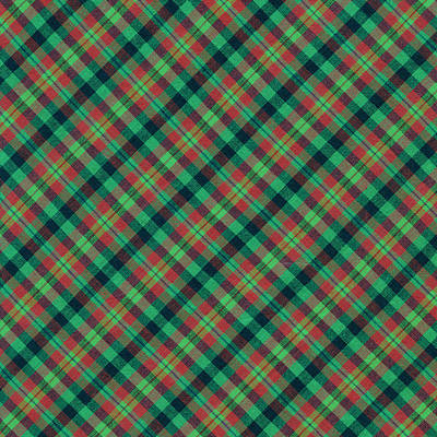 Green Red And Black Diagonal Plaid Textile Background Art Print by Keith Webber Jr