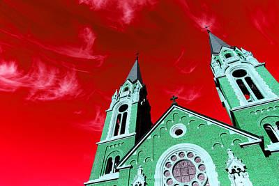 Blue Digital Art - Green Church by Alexandra Pollett