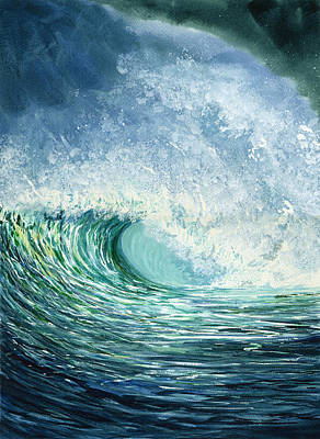 Wave Curl Painting - Green Room by Karen Wright