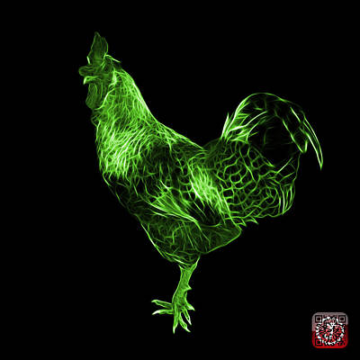 Digital Art - Green Rooster 3186 F by James Ahn