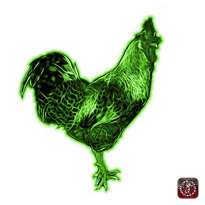 Digital Art - Green Rooster 3186 Fs by James Ahn