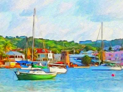 Painting - Green Sailboat On Mooring - Horizontal 2 by Lyn Voytershark