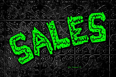 Photograph - Green Sales Sign On Black by John Stephens