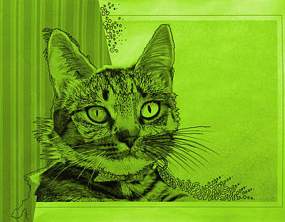 Green Sanguine ... Abstract Cat Art Painting Art Print by Amy Giacomelli