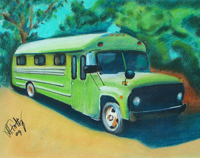 Painting - Green School Bus by Michael Foltz