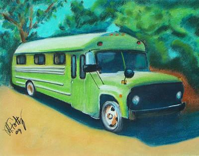 Green School Bus Art Print