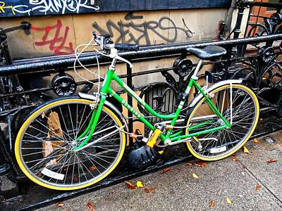 Art Print featuring the photograph Green Schwinn Bike  Nyc by Joan Reese