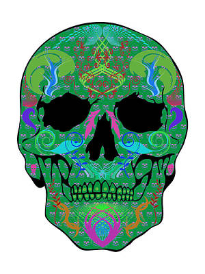 Green Skull Art Print by Mauro Celotti