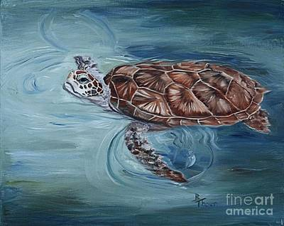 Painting - Green Sea Turtle by Brenda Thour