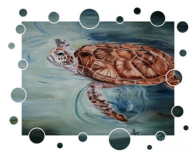 Painting - Green Sea Turtle Bubbles by Brenda Thour