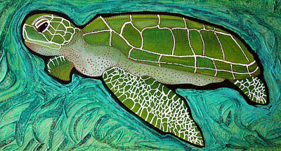 Ocean Turtle Mixed Media - Green Sea Turtle by Laura Barbosa