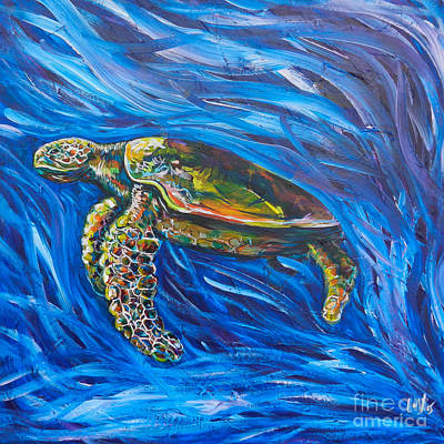 Save Water Painting - Green Sea Turtle by Lovejoy Creations