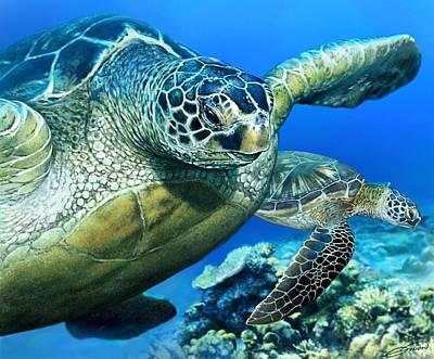 Digital Art - Green Sea Turtle by Owen Bell