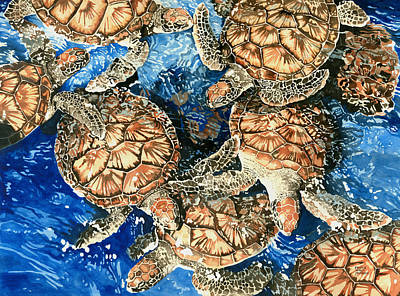 Painting - Green Sea Turtles by Pauline Walsh Jacobson