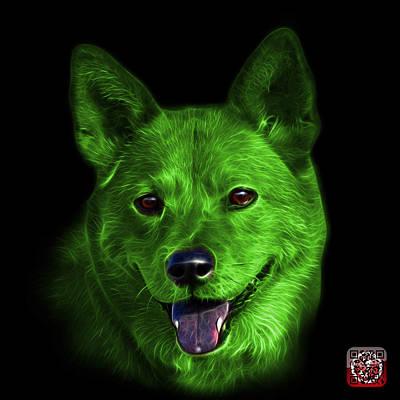 Mixed Media - Green Shiba Inu Dog Art - 8555 - Bb by James Ahn