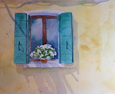 Painting - Green Shutters And White Geraniums by Cynthia Roudebush