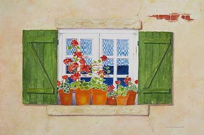 Terra Painting - Green Shutters With Red Flowers by Mary Ellen Mueller Legault