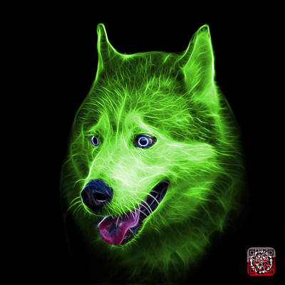 Painting - Green Siberian Husky Dog Art - 6062 - Bb by James Ahn