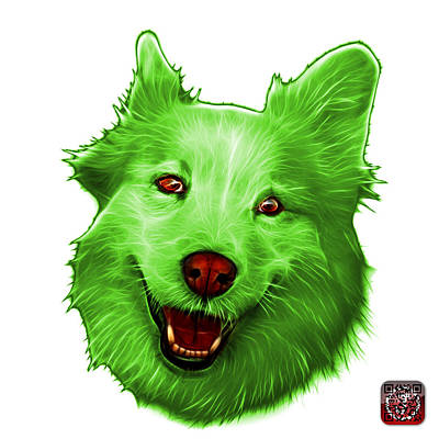 Painting - Green Siberian Husky Mix Dog Pop Art - 5060 Wb by James Ahn