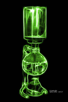 Digital Art - Green Siphon Coffee 6781 F by James Ahn