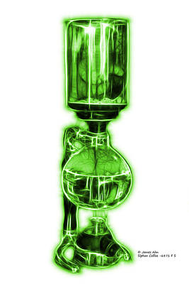 Digital Art - Green Siphon Coffee 6781 F S by James Ahn