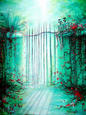 Green Skeleton Gate Original by Heather Calderon