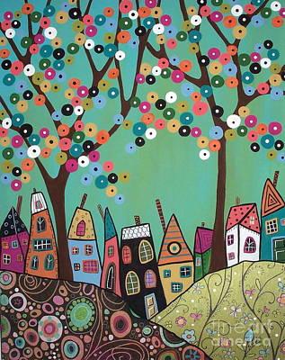 Modern Folk Art Painting - Green Sky by Karla Gerard