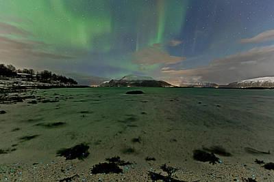 Green Sky Over The Beach Art Print by Frank Olsen