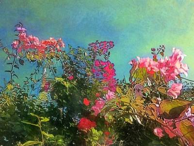 Digital Art - Green Sky With Pink Bougainvillea - Horizontal by Lyn Voytershark