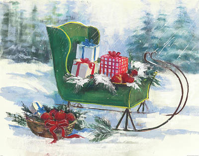 Green Sleigh Art Print by Carol Rowan