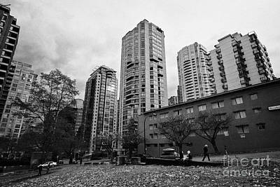 Green Space In Front Of High Rise Apartment Condo Blocks In The West End Between Robson And West Geo Art Print by Joe Fox