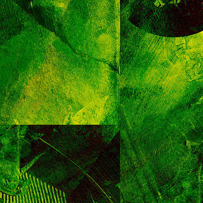 Green Square Abstract Art Print by Ann Powell