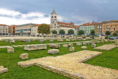 Photograph - Green Square In Zadar Forum Roman Remains by Brch Photography