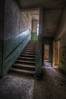 Haunted Digital Art - Green Steps by Nathan Wright