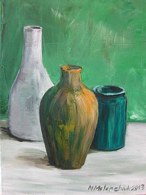 Green Still Life 2013 Art Print by Maria Melenchuk