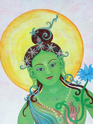 Green Tara Art Print by Sarah Grubb