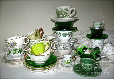 Photograph - Green Teacups  by Nancy Patterson
