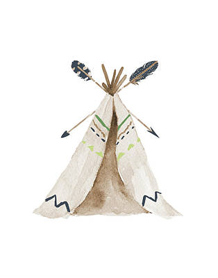 Nursery Painting - Green Tee Pee by Tara Moss