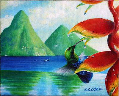 Painting - Green-throated Carib And Heliconia by Christopher Cox