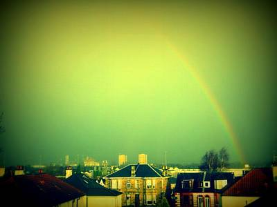 Rainbow Photograph - Green Tinted Sky With Rainbow by Mlle Marquee
