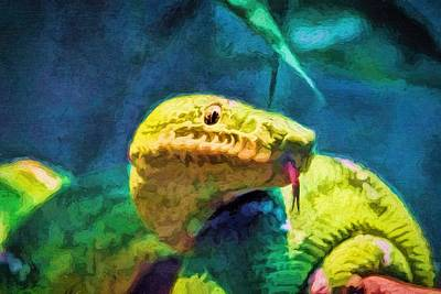 Painting - Green Tree Snake With Tongue by Tracie Kaska