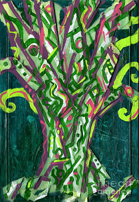 Painting - Green Tree With Pink by Genevieve Esson