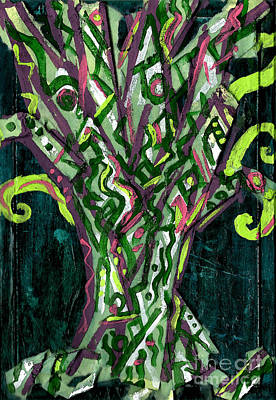 Painting - Green Tree With Pink Watercolor by Genevieve Esson