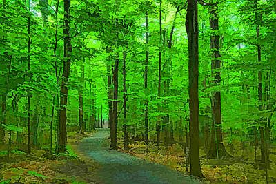 Pathway Digital Art - Green Trees - Impressions Of Summer Forests by Georgia Mizuleva