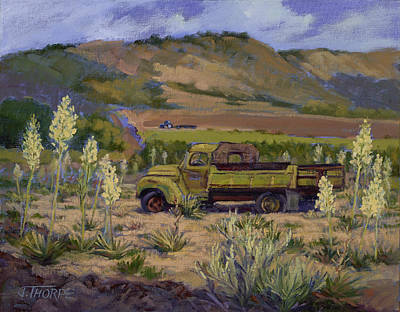 Plain Air Painting - Green Truck- Blooming Yuccas by Jane Thorpe