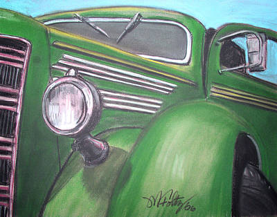 Old School Bus Painting - Green Truck by Michael Foltz