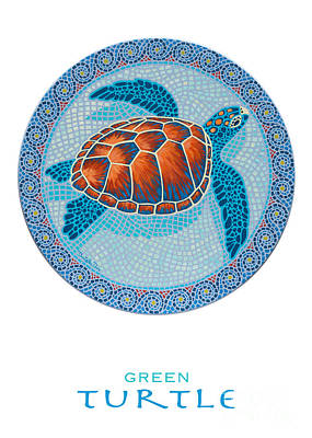 Ocean Turtle Painting - Green Turtle by Danielle  Perry